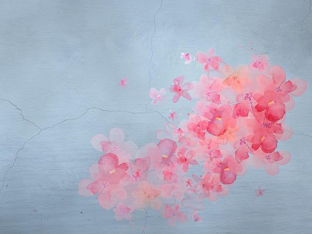 květy na zdi